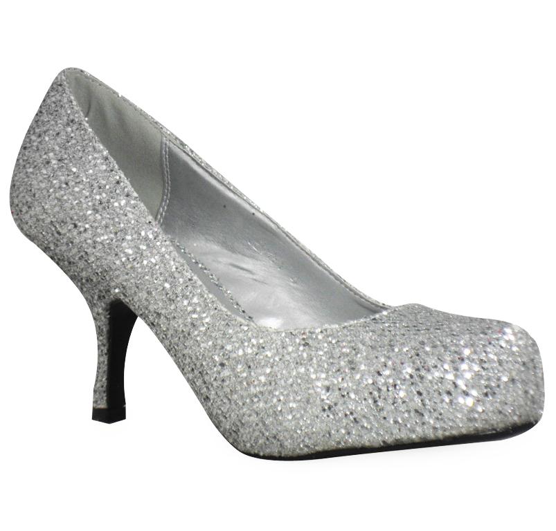 womens silver glitter low kitten heel pumps